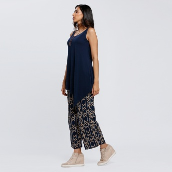 Printed Culottes with Elasticised Waistband