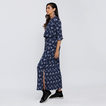 Printed Maxi Dress with Side Slit