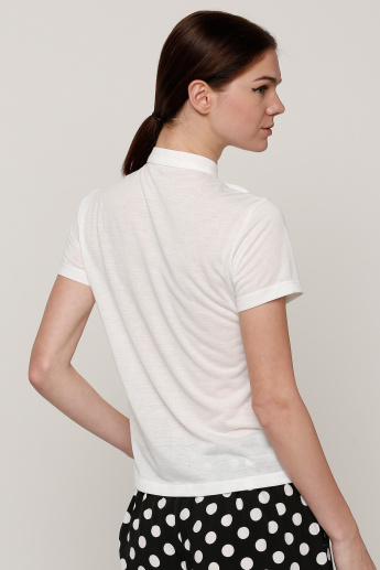 Short Sleeves Top with Tie-Up Detail