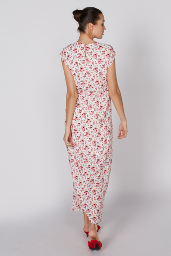 Printed Maxi Dress with Cap Sleeves and Keyhole Closure