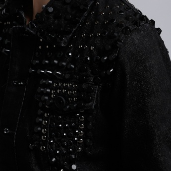 BLACK Studded Jacket with Long Sleeves